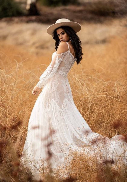 A-line Vintage inspired open shoulder BOHO Rustic V-back V-neck Lace Long Sleeves All Who Wander Tuscany Bridal