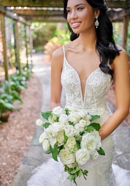 Aurelia Wedding Dress Fit and Flare V Neck low back Tuscany Bridal D3043 Essense of Australa