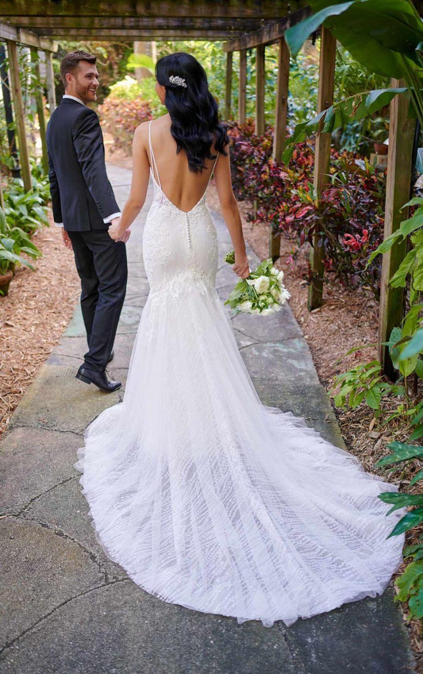 Aurelia Wedding Dress Fit and Flare V Neck low back Tuscany Bridal D3043 Essense of Australa