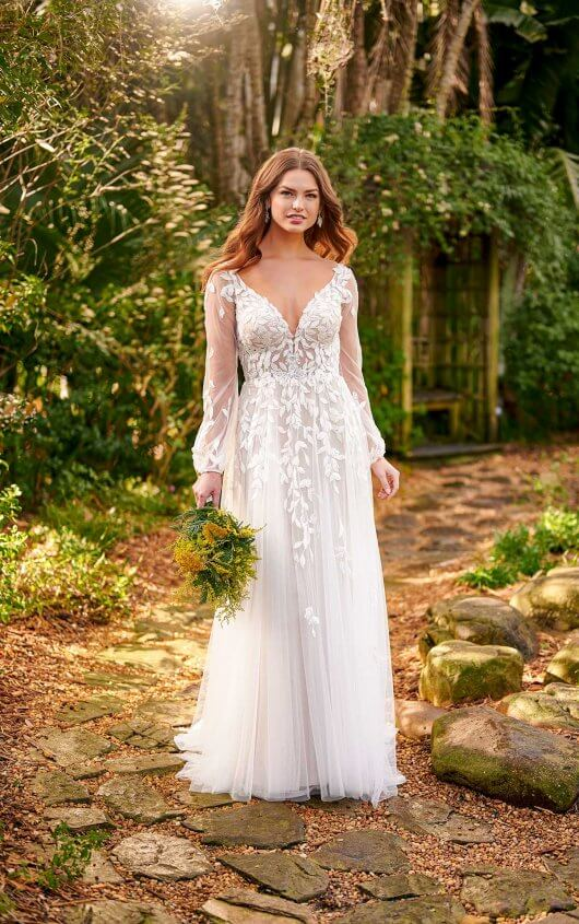A-line Long Sleeve Open back Rustic Boho Destination Wedding D3145 Essense of Australia Eve Tuscany Bridal