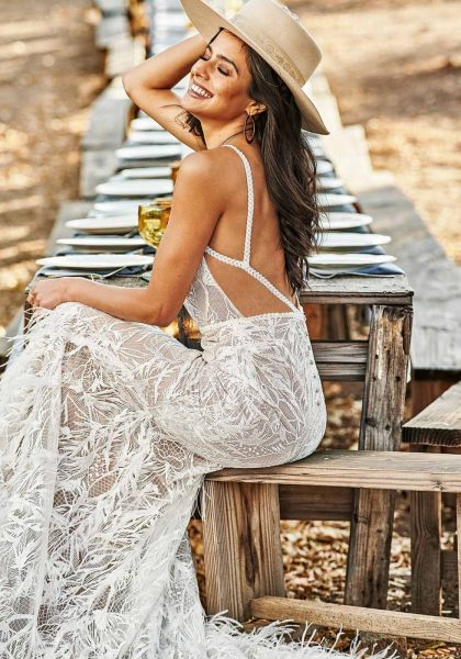 Rustic Boho Fit-and-Flare Lace Nude cutouts Open back All Who Wander Tuscany Bridal