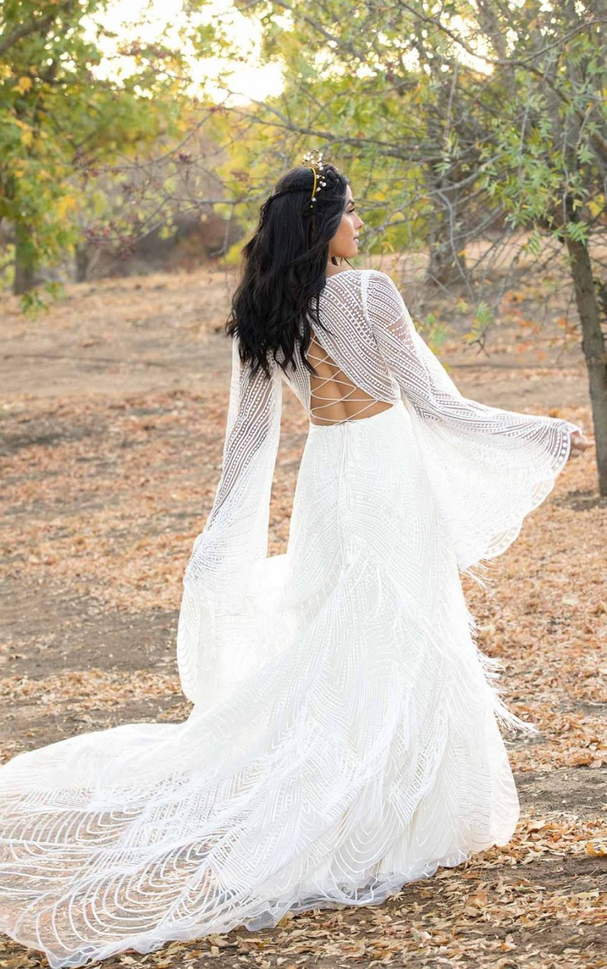 Romantic dress Lace Detachable Bell Sleeves Criss-cross back Boho All Who Wander Tuscany Bridal