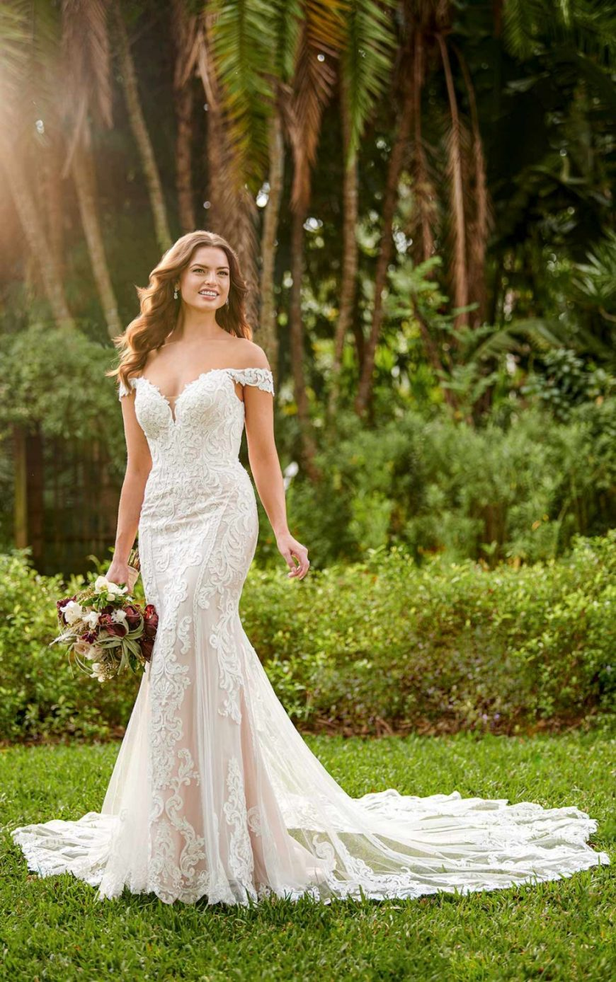Miriam Wedding Dress Lace Slimline Fit and Flare Off-Shoulder Tuscany Bridal D3114 Essense of Australia
