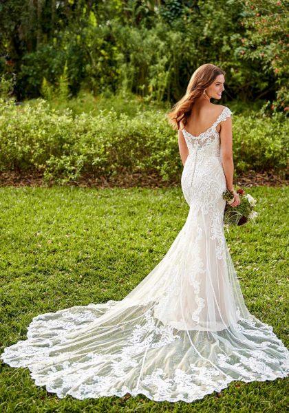 Miriam Wedding Dress Lace Slimline Fit and Flare Off-Shoulder Tuscany Bridal D3114 Essense of Australia