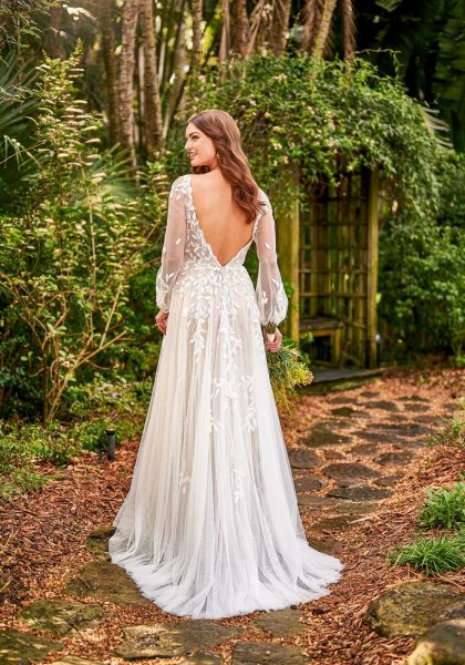 A-line Long Sleeve Open back Rustic Boho Destination Wedding D3145 Essense of Australia Eve Tuscany Bridal