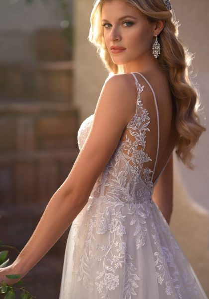 A-line French Lace Shimmer Elegant Thin straps Open V-back 7083 Stella York Tuscany Bridal