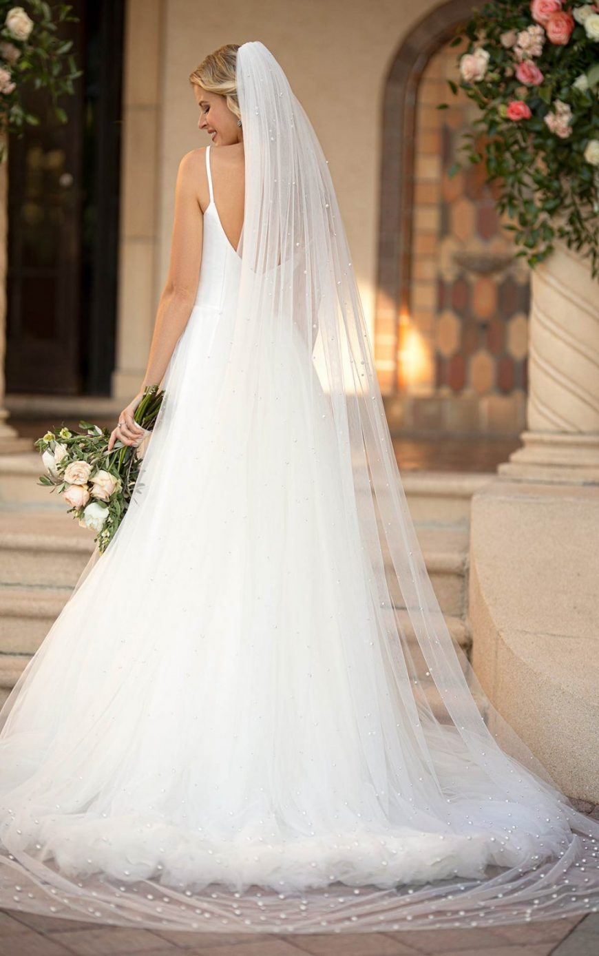 A-line Ballgown Simple Slim strap Scooped Open Back Plus size 7051 Stella York Tuscany Bridal