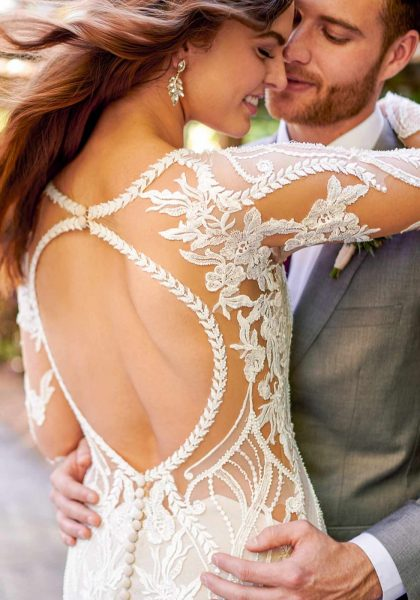 Fit-and-flare Lace Wedding Dress Open back Long sleeves V-neckline Shimmer Elegant Merridy D3150 Essense of Australia Tuscany Bridal