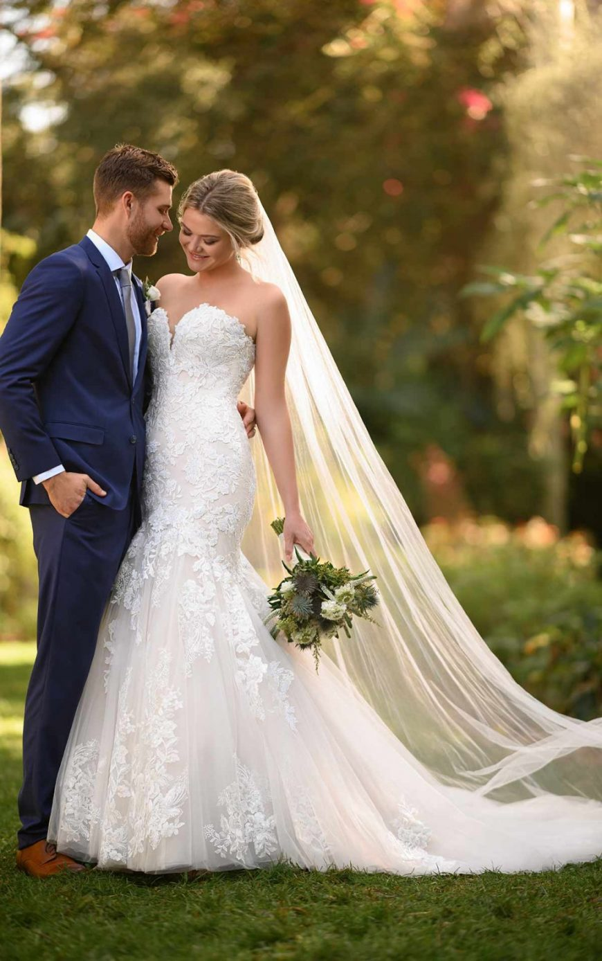 Fit-and-Flare Floral Wedding Gown Strapless Bodice Vine effect lace Shimmer Plus size Glamour Elegant Tuscany Bridal D3044 Essense of Australia