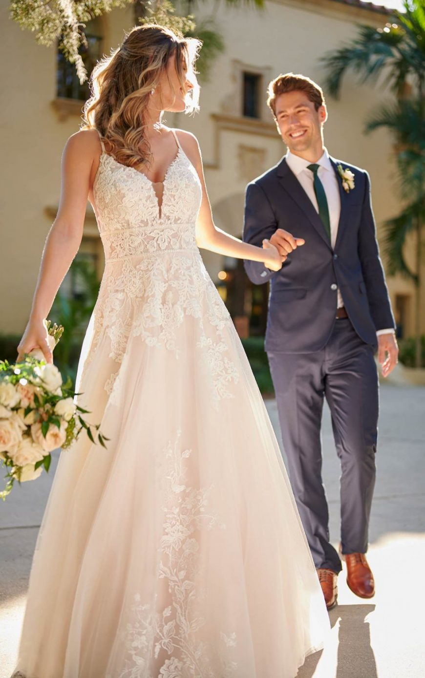 A-line Beaded Lace Slim straps V-side cutouts Wide open back Feature banded waist 7103 Stella York Tuscany Bridal