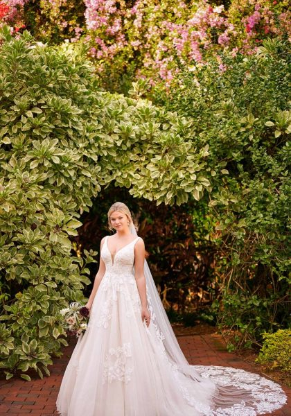 A-Line Princess Feminine Ballgown Plus size Soft floral detail matte lace V-neckline side V-cutouts V-back D3121 Essense of Australia Tuscany Bridal